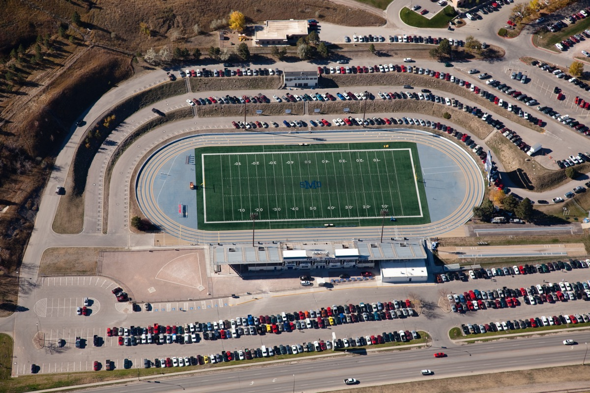 sdsm&t football field aerial photo, kevin eilbeck photography